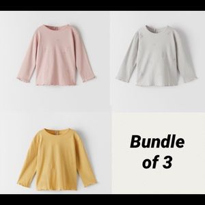 NWT 12-18 month Zara bundle of 3 shirts pink gray